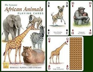 African Animals set of 52 playing cards (+ jokers)    (hpc)